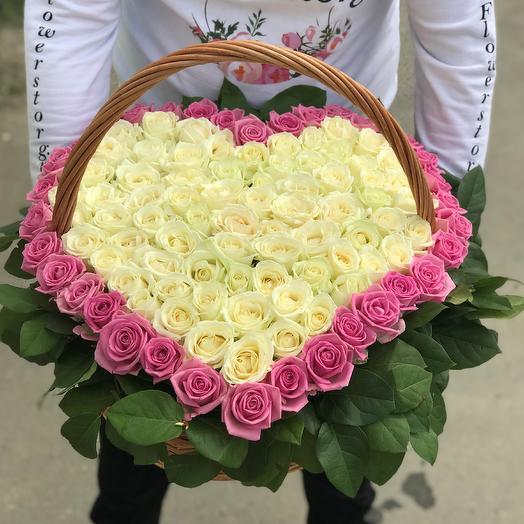 Корзины с цветами. Розы. Сердце из роз. 101 роза. N71: букеты цветов на заказ Flowwow