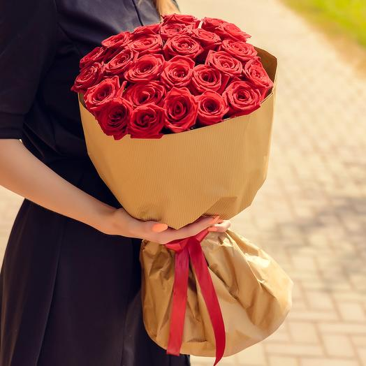 Bouquet of 25 red roses (60cm)