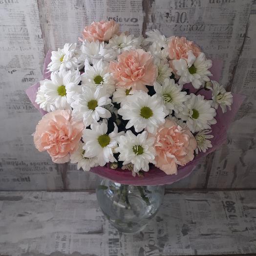 Букет из хризантем и диантуса: букеты цветов на заказ Flowwow
