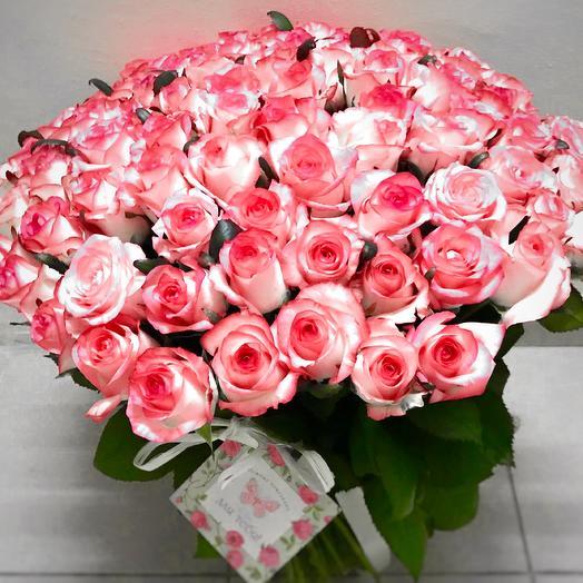 Букет нежно-розовых роз (101 шт): букеты цветов на заказ Flowwow