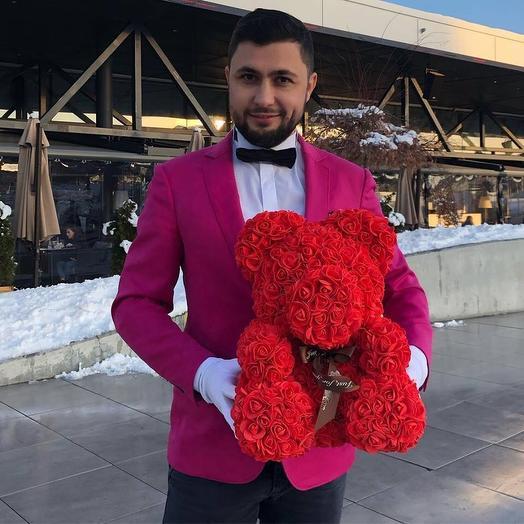 Мишка из Роз с эффектным вручением: букеты цветов на заказ Flowwow