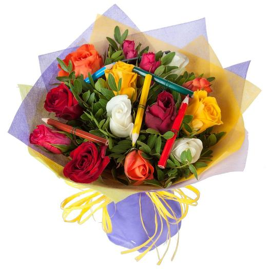 "Букет из роз ""Здравствуй, школа"": букеты цветов на заказ Flowwow"