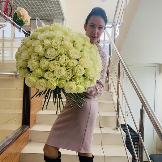 101 белая Голландская роза: букеты цветов на заказ Flowwow