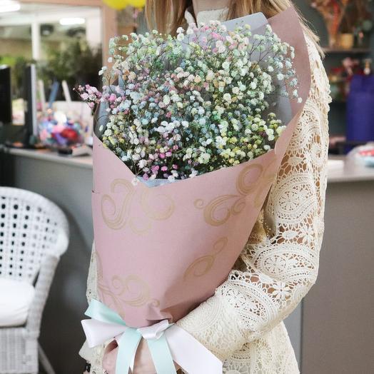 Букет из радужно гипсофилы: букеты цветов на заказ Flowwow