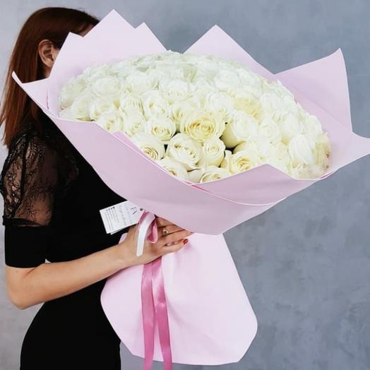 Белая 101 роза