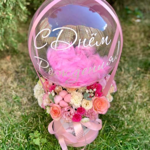 Композиция розовая с шаром баблс