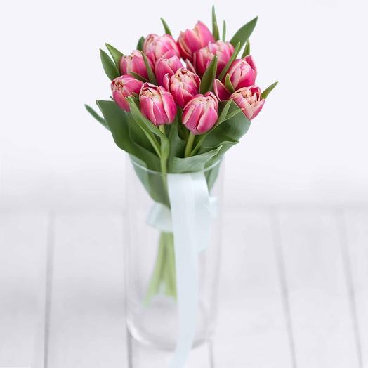 Букет из 11 розовых пионовидных тюльпанов