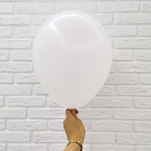 1 Белый Гелиевый шар пастель 30см с обработкой