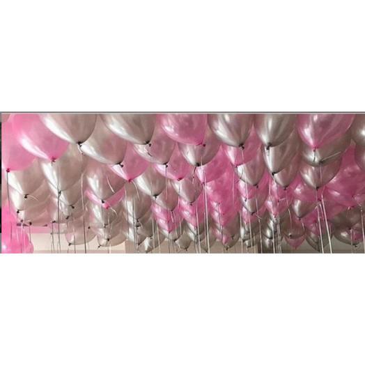 Шарики с гелием под потолок - серебро и розовые металлик 50 шт