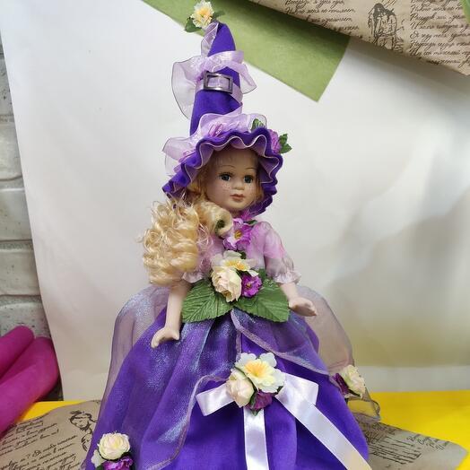 Коллекционная кукла-эльф Цветочная девочка в фиолетовом