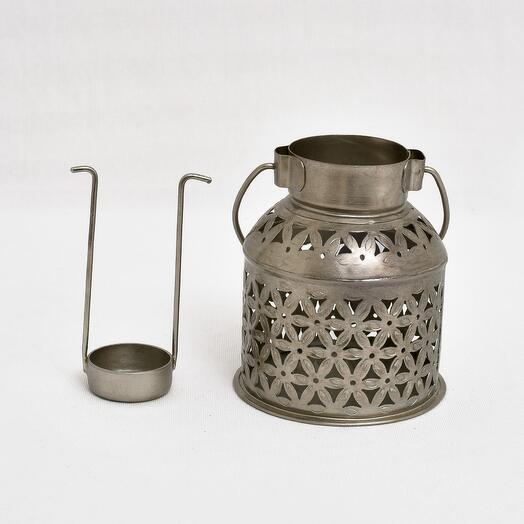 Металлический резной подсвечник бидона (латунь)(никель)(черное порошковое напыление) (Цвет-Никель)
