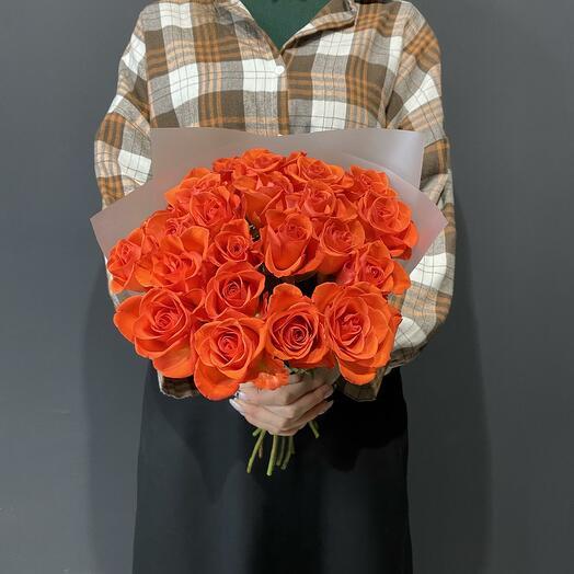 Букет из 21 розы 40см цвета кирпич