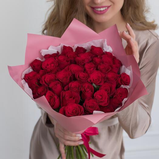 Букет из 41 розы Кения 40см