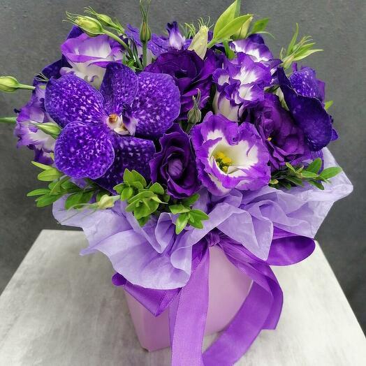 """Blue magic (орхидея """"Ванда"""" и эустома)"""