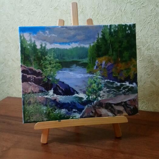 """Картина маслом """"Горная речка. Карелия. Водопад Кивач"""""""