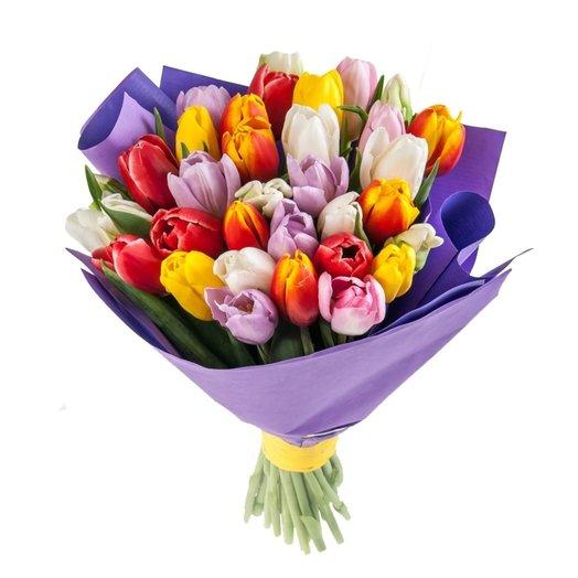 Монобукет из 35 селекционных тюльпанов ASSOLUTO: букеты цветов на заказ Flowwow