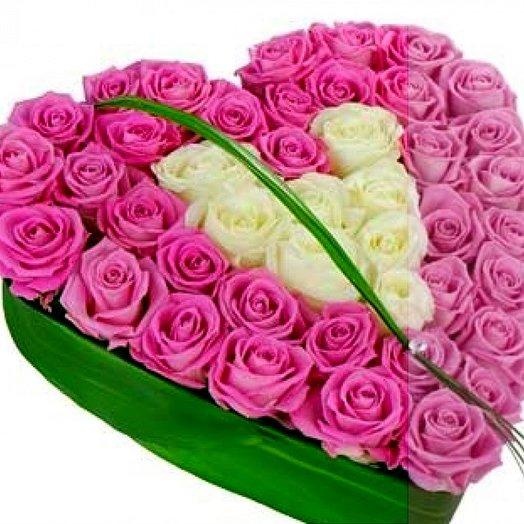 Сердце 45 роз.: букеты цветов на заказ Flowwow