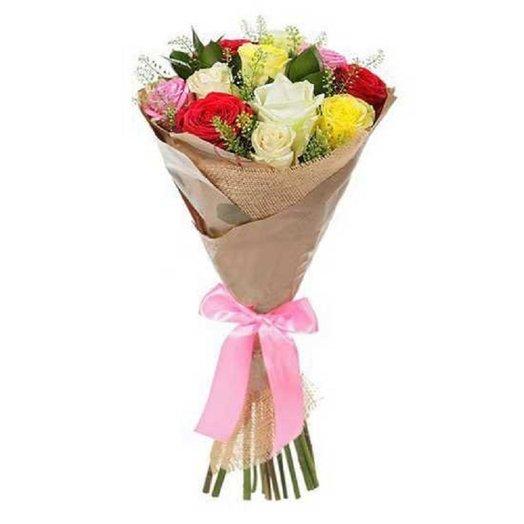 Кения микс с солидаго в крафте: букеты цветов на заказ Flowwow