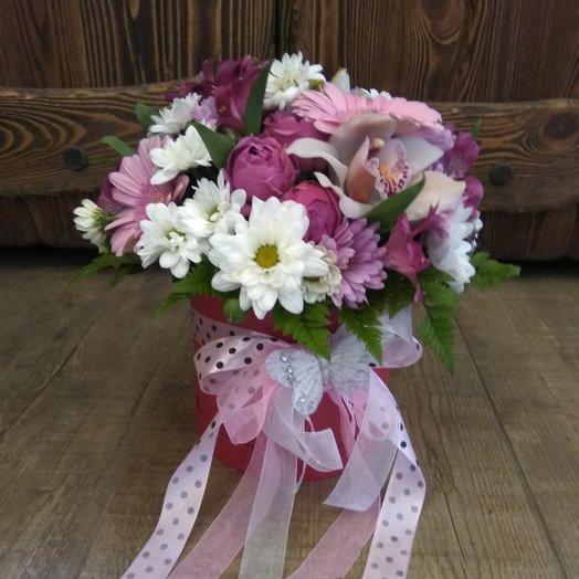 Шляпная коробка гербера орхидея пионовидная роза хризантема: букеты цветов на заказ Flowwow