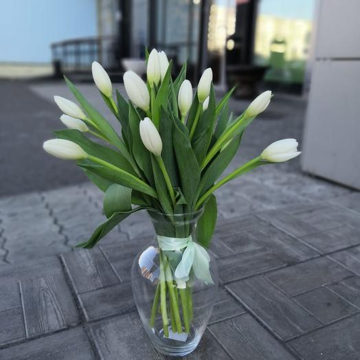 Букет из 13 белых тюльпанов: букеты цветов на заказ Flowwow