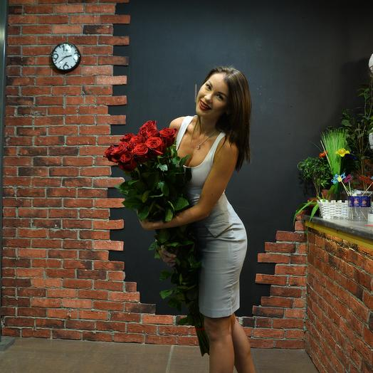 15 роз 150 см в букете суперпремиум: букеты цветов на заказ Flowwow