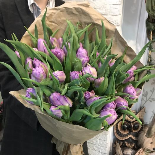 Пионовидные сиреневые тюльпанчики: букеты цветов на заказ Flowwow