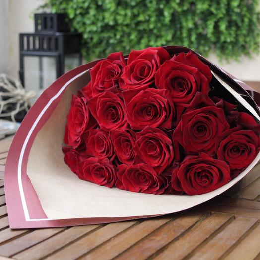 15 красных роз. Premium
