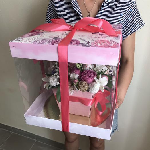 Букет из клубники в квадратной коробке: букеты цветов на заказ Flowwow
