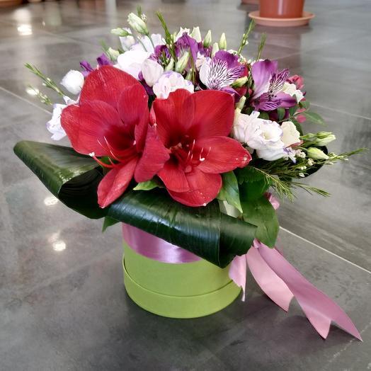 Композиция с амариллисом в шляпной коробке: букеты цветов на заказ Flowwow