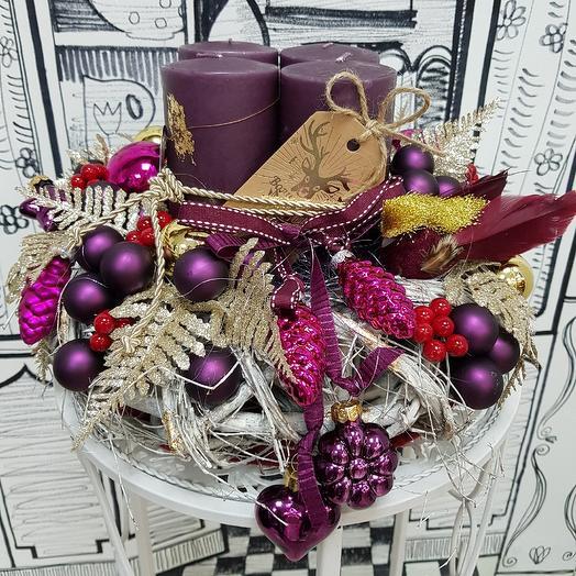 Настольная композиция со свечами: букеты цветов на заказ Flowwow
