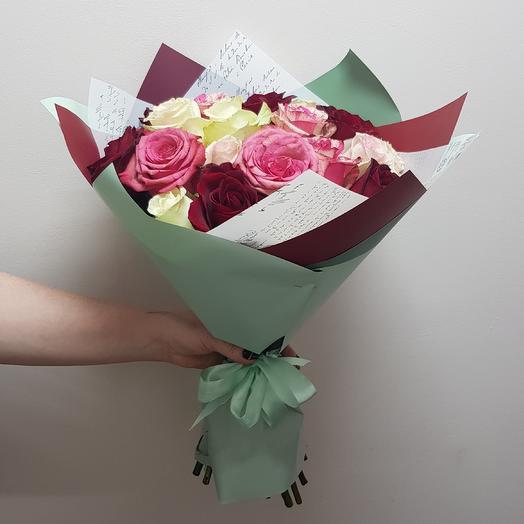 Розы микс 25 шт: букеты цветов на заказ Flowwow