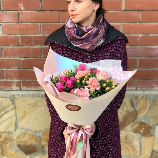 Букет для мам (топпер можно убрать): букеты цветов на заказ Flowwow