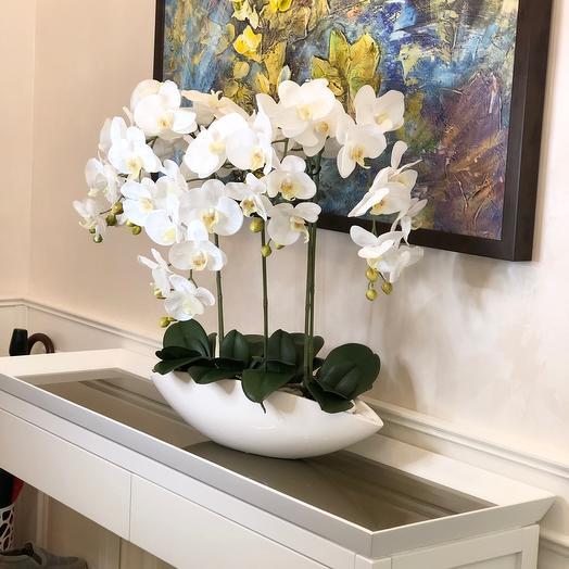 Композиция из селиконовых орхидей в керамическое кашпо