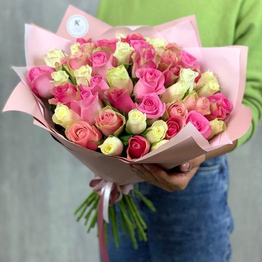 Букет из 51 кенийской розы микс