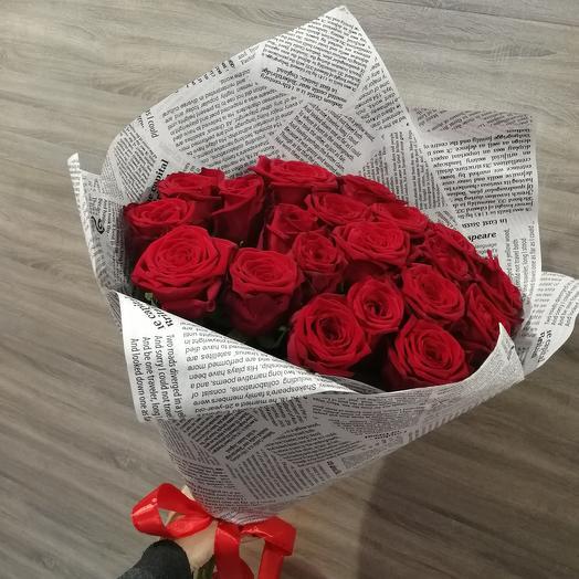 ✅ Букет 21 Красная роза в крафт бумаге
