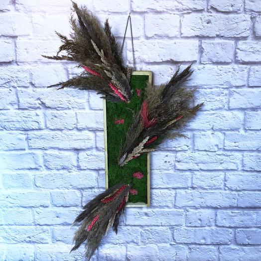 Панно со стабилизированным мхом, сухоцветами и подсветкой