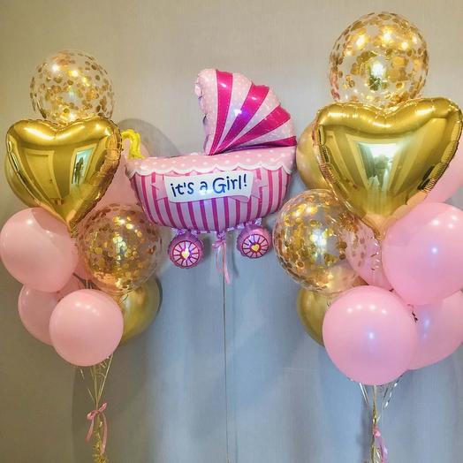 Гелиевые шары набор на выписку розовый с золотом