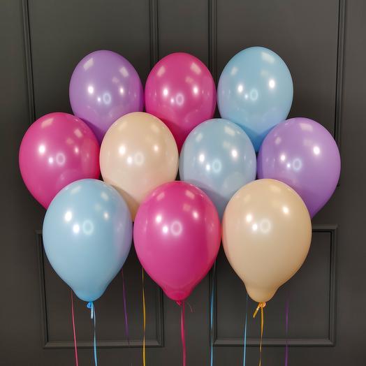 Воздушные разноцветные шарики нежных цветов 25 шт