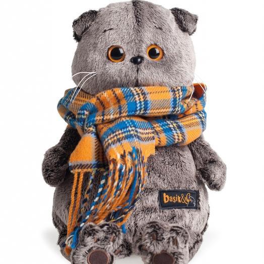 Мягкая игрушка «кот Басик в шарфике» коллекционный