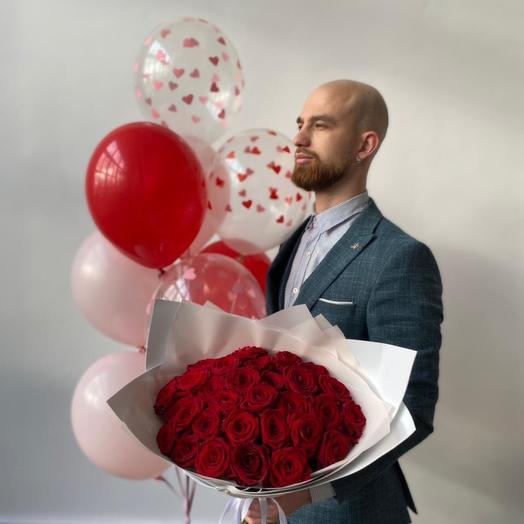 Сет 'Вау  31 Роза и шары