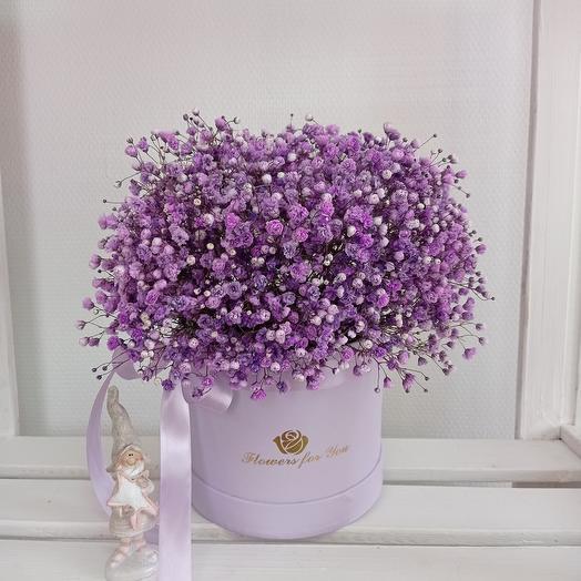 """""""Цветы для тебя"""" 25см с кружевной гипсофилой в шляпной коробке"""