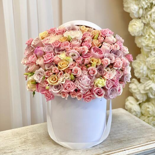 Цветы в коробке Розовая нежность