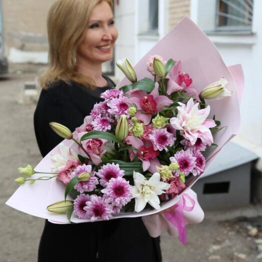 Букет Орхидеи, Хризантем и Лилий