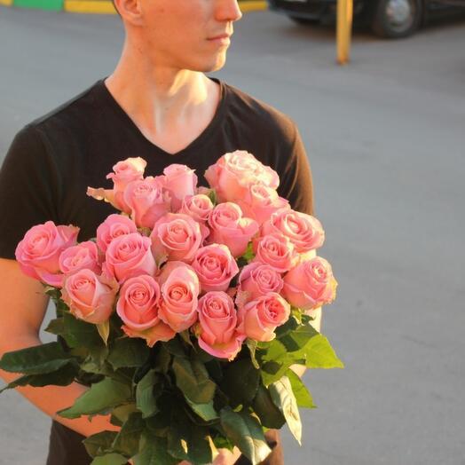 "Розовая роза ""Hermosa"" 70 см"
