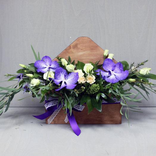 Конверт с орхидеей ванда: букеты цветов на заказ Flowwow