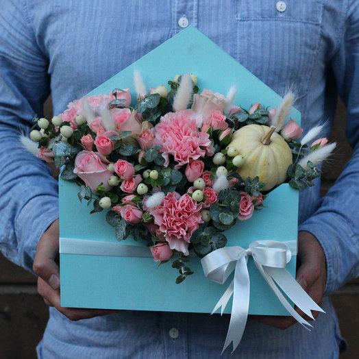 Цветочный ящик с тыквой