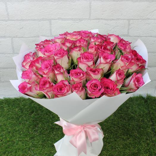 "51 розовая роза ""Карусель мини"": букеты цветов на заказ Flowwow"