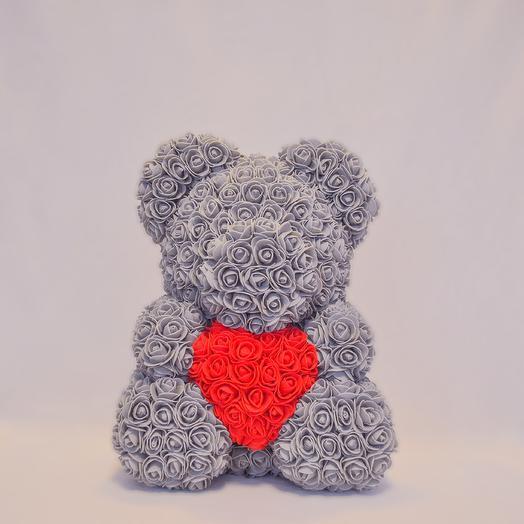 Мишка из роз с сердцем RozaRose Серый - 40 см: букеты цветов на заказ Flowwow
