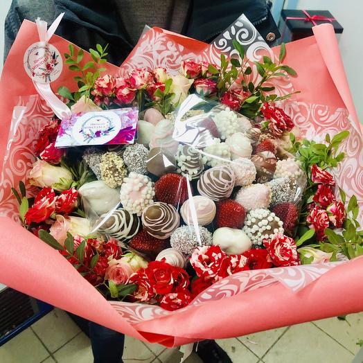 Букет «Клубничная Феерия»: букеты цветов на заказ Flowwow