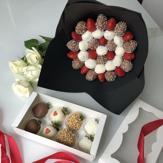 Школа! Акция «2 по цене 1» - клубничный букет+коробочка: букеты цветов на заказ Flowwow